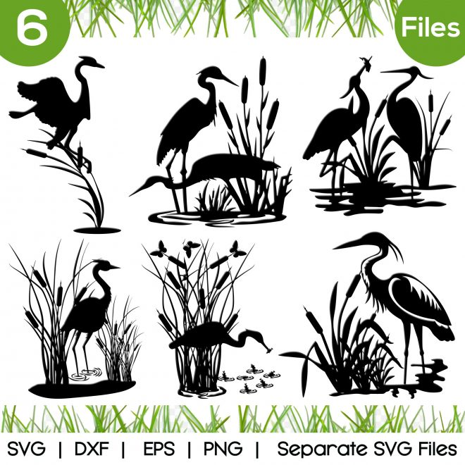 heron with cattails svg